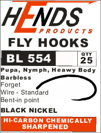 Крючки BL-554 Pupa, Nymph, Heawy Body (Hends products) безбородый